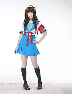 cheap Anime Cosplay-Inspired by Suzumiya Haruhi Haruhi Suzumiya Anime Cosplay Costumes Cosplay Suits School Uniforms Patchwork Short Sleeves Top Skirt Belt