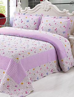 billige Blomstrete-3-piece lilla mønster vasket bomull dyne sett