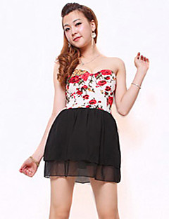 Women's Going out Cute Dress,Floral Polyester Spandex