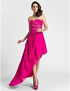 cheap Special Occasion Dresses-A-Line Sweetheart Knee Length Asymmetrical Chiffon Cocktail Party Evening Dress with Beading by TS Couture®