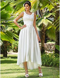billiga A-linjeformade brudklänningar-A-linje / Prinsessa Scoop Neck Asymmetrisk Satäng Bröllopsklänningar tillverkade med Bård / Applikationsbroderi / Ficka av LAN TING BRIDE®
