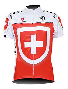 Kooplus サイクリングジャージー 男性用 半袖 バイク ジャージー トップス 防水ファスナー フロントファスナー 耐久性 高通気性 ポリエステル100% 国旗 サイクリング/バイク