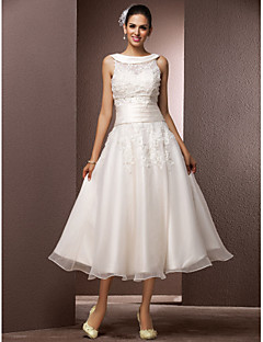 cheap Reception Dresses-A-Line Jewel Neck Tea Length Organza Floral Lace Custom Wedding Dresses with Beading Pearl Appliques by LAN TING BRIDE®