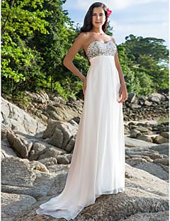 cheap Beach & Honeymoon Dresses-Sheath / Column Sweetheart Sweep / Brush Train Chiffon Custom Wedding Dresses with Beading by LAN TING BRIDE®