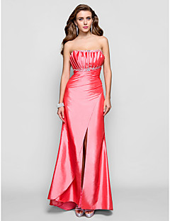 cheap Special Occasion Dresses-Sheath / Column Scalloped Floor Length Taffeta Prom / Formal Evening Dress with Beading Draping Split Front by TS Couture®