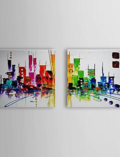 tanie Pejzaże abstrakcyjne-Hang-Malowane obraz olejny Ręcznie malowane - Krajobraz Klasyczny Tradycyjny Naciągnięte płótka / Rozciągnięte płótno
