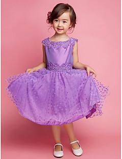 aラインの膝丈フラワーガールのドレス - 刺繍とコットンノースリーブ広場ネック