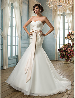 billiga Mammabrudklänningar-trumpet / sjöjungfrun älskling organza brudklänning