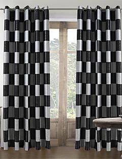 billige Gardiner-Stanglomme Propp Topp Fane Top Dobbelt Plissert To paneler Window Treatment Middelhavet, Mønstret Pledd / Tern Stue Polyester Materiale