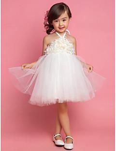 姫のお茶の長さ花の女の子のドレス - 天使によるドレープとサテンチュールノースリーブホルター