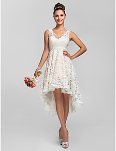 cheap Going Neutral-A-Line Princess V Neck Asymmetrical Sheer Lace Bridesmaid Dress with Lace Pleats by LAN TING BRIDE®