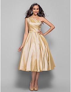billiga Balklänningar-A-linje Enaxlad Telång Taft Bal / Bröllopsfest Klänning med Bälte / band av TS Couture®