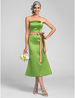 tanie Zielony szyk-Syrena Bez ramiączek Lekko nad kolana Satyna Sukienka dla druhny z Szafra / Wstążka przez LAN TING BRIDE®