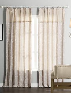 billige Gardiner-Stanglomme Propp Topp Fane Top Dobbelt Plissert To paneler Window Treatment Neoklassisk, Mønstret 55% Bomull/45% Lin Lin/Bomull Blanding