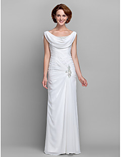 cheap Wedding Guest Dresses-Sheath / Column Cowl Neck Floor Length Chiffon Mother of the Bride Dress with Beading Buttons Crystal Detailing Side Draping Criss Cross