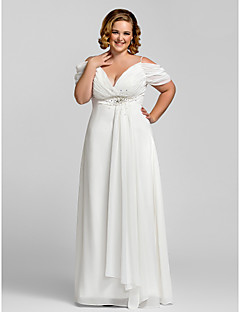 cheap Plus Size Dresses-Sheath / Column Spaghetti Straps Floor Length Chiffon Prom / Formal Evening Dress with Beading Crystal Detailing by TS Couture®