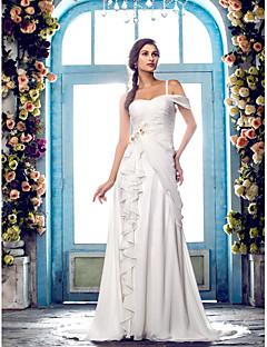 billiga Imperiumbrudklänningar-A-linje Enaxlad Svepsläp Chiffong Bröllopsklänningar tillverkade med Bård / Applikationsbroderi / Blomma av LAN TING BRIDE®