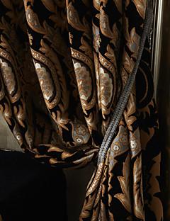 billige Gardiner-Stanglomme Propp Topp Fane Top Dobbelt Plissert To paneler Window Treatment Europeisk Neoklassisk, Mønstret Polyester Materiale gardiner