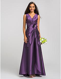θήκη / στήλη V-λαιμός πάτωμα μήκους ταφτά φόρεμα παράνυμφος με κρύσταλλο από lan ting bride®