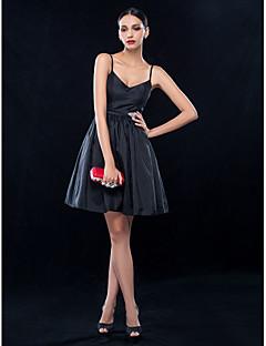 billiga Den lilla svarta-A-linje Smala axelband Kort / mini Taft Cocktailfest / Bröllopsfest Klänning med Kristalldetaljer Bälte / band av TS Couture®