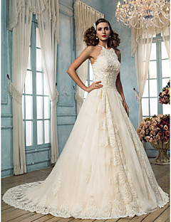 Halter wedding dresses search lightinthebox a line halter sweep brush train tulle custom wedding dresses with beading appliques by lan ting bride junglespirit Choice Image