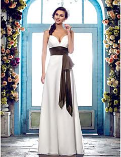 billiga Imperiumbrudklänningar-Åtsmitande Smala axelband Golvlång Chiffong Bröllopsklänningar tillverkade med Rosett / Draperad / Bälte / band av LAN TING BRIDE®