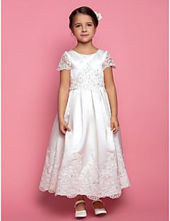 tanie Sukienki na co dzień-Krój A / Księżniczka Do kostki Sukienka dla dziewczynki z kwiatami - Satyna Krótki rękaw Zaokrąglony z Koraliki / Haft nakładany / Drapowania przez LAN TING BRIDE®
