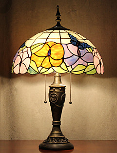 baratos Lâmpadas de Cabeceira-Borboletas Abajur Padrão, 2 Luz, Tiffany Resina Pintura Em Vidro