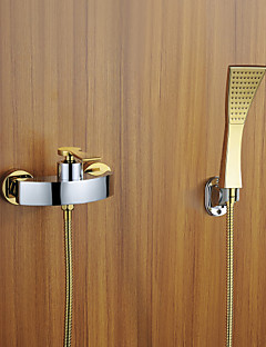 Contemporary Wall Mounted Handshower Included With Ceramic Valve Three  Holes Single Handle Three Holes For Chrome