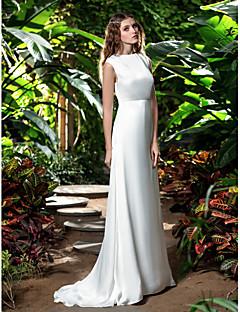 billiga Åtsmitande brudklänningar-Åtsmitande Bateau Neck Svepsläp Chiffong Bröllopsklänningar tillverkade med av LAN TING BRIDE®