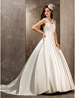 cheap Vintage Romance-A-Line Princess Queen Anne Sweep / Brush Train Lace Satin Custom Wedding Dresses with Beading Appliques Sash / Ribbon Button by LAN TING