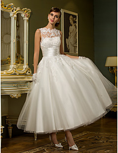 cheap Reception Dresses-Princess Illusion Neckline Ankle Length Lace Over Tulle Custom Wedding Dresses with Appliques Sash / Ribbon Ruched by LAN TING BRIDE®