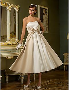 billiga Prinsessbrudklänningar-A-linje / Prinsessa Hjärtformad urringning Telång Satäng Bröllopsklänningar tillverkade med Rosett av LAN TING BRIDE®