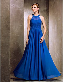 cheap Special Occasion Dresses-A-Line Jewel Neck Floor Length Crepe Bridesmaid Dress with Draping Criss Cross by TS Couture®