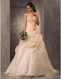 billiga Prinsessbrudklänningar-A-linje / Prinsessa Hjärtformad urringning Hovsläp Organza Bröllopsklänningar tillverkade med Bård / Applikationsbroderi / Sidodraperad av