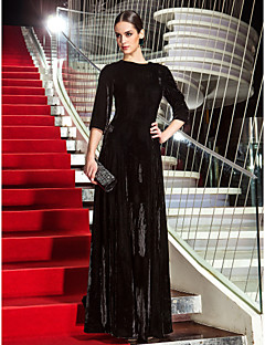 cheap Celebrity Dresses-A-Line Jewel Neck Floor Length Velvet Formal Evening / Military Ball Dress with Side Draping by TS Couture®