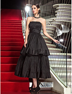 cheap Celebrity Dresses-A-Line Strapless Tea Length Taffeta Prom / Formal Evening Dress with Pleats by TS Couture® / Little Black Dress
