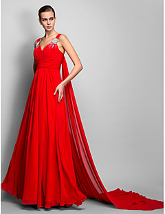 cheap Special Occasion Dresses-A-Line Princess Straps Floor Length Chiffon Evening Dress with Beading by TS Couture®