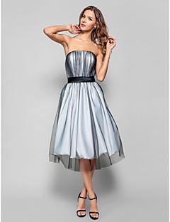 baratos Vestidos de Formatura-Linha A / Justo & Evasê Sem Alças Até os Joelhos Tule Frente Única Coquetel Vestido com Faixa / Fita de TS Couture®