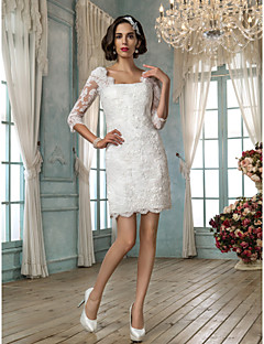 cheap Wedding Dresses-Sheath / Column Square Neck Short / Mini Lace Made-To-Measure Wedding Dresses with Appliques by LAN TING BRIDE® / Little White Dress