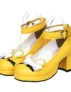 billiga Lolitamode-Skor Klassisk / Traditionell Lolita Högklackat Skor Rosett 6.5cm CM Svart / Gul / Rosa Till PU-läder / Polyuretan Läder