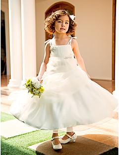 tanie Ślub z motywem przewodnim-Krój A / Księżniczka Do kolan Sukienka dla dziewczynki z kwiatami - Organza Bez rękawów Cienkie ramiączka z Koraliki / Haft nakładany / Fałdki przez LAN TING BRIDE®