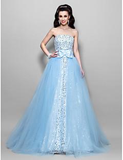 billige Paljettkjoler-A-line ball gown prinsesse stroppeløs gulvlengde tulle sequined prom kjole med draping av ts couture®