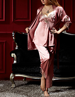 cheap Pajamas-Women's V Neck Suits Satin & Silk Pajamas Solid Colored