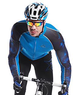 billige Sett med sykkeltrøyer og shorts/bukser-Mysenlan Herre Langermet Sykkeljersey - Svart Blå Sykkel Jersey, Hold Varm, Fort Tørring, Pustende