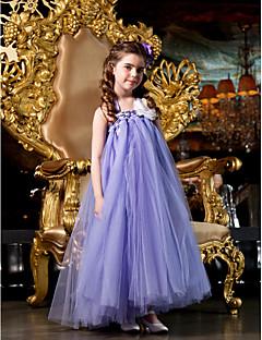 billige Skjørt-A-linje / Prinsesse Gulvlang Blomsterpikekjole - Tyll Ermeløs stropper med Perlearbeid / Blomst av LAN TING BRIDE®