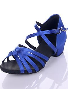hesapli -Kadın's Latin Dans Ayakkabıları / Balo Saten Sandaletler Düşük Topuk Kişiselletirilmemiş Dans Ayakkabıları Leopar / Siyah / Kraliyet Mavisi / Çocuklar için / Süet