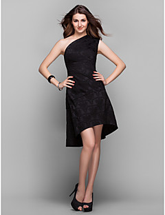 A-Line One Shoulder Asymmetrical Satin Cocktail Party Homecoming Prom Holiday Dress with Lace Pleats by TS Couture®