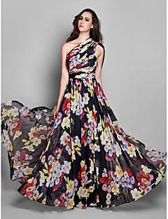 billige Mønstrede og ensfargede kjoler-A-linje Enskuldret Gulvlang Chiffon Formell kveld Kjole med Mønster / trykk / Bølgemønster av TS Couture®