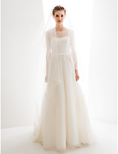 billiga A-linjeformade brudklänningar-A-linje Prydd med juveler Golvlång Tyll Bröllopsklänningar tillverkade med Rosett / Applikationsbroderi av LAN TING BRIDE®